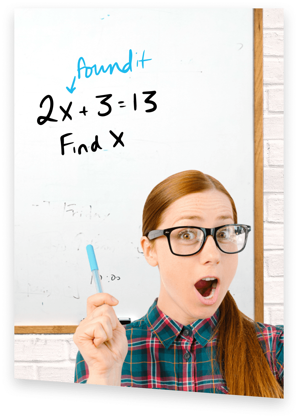 AP Prep Tutor in front of whiteboard with AP Algebra equation written on it