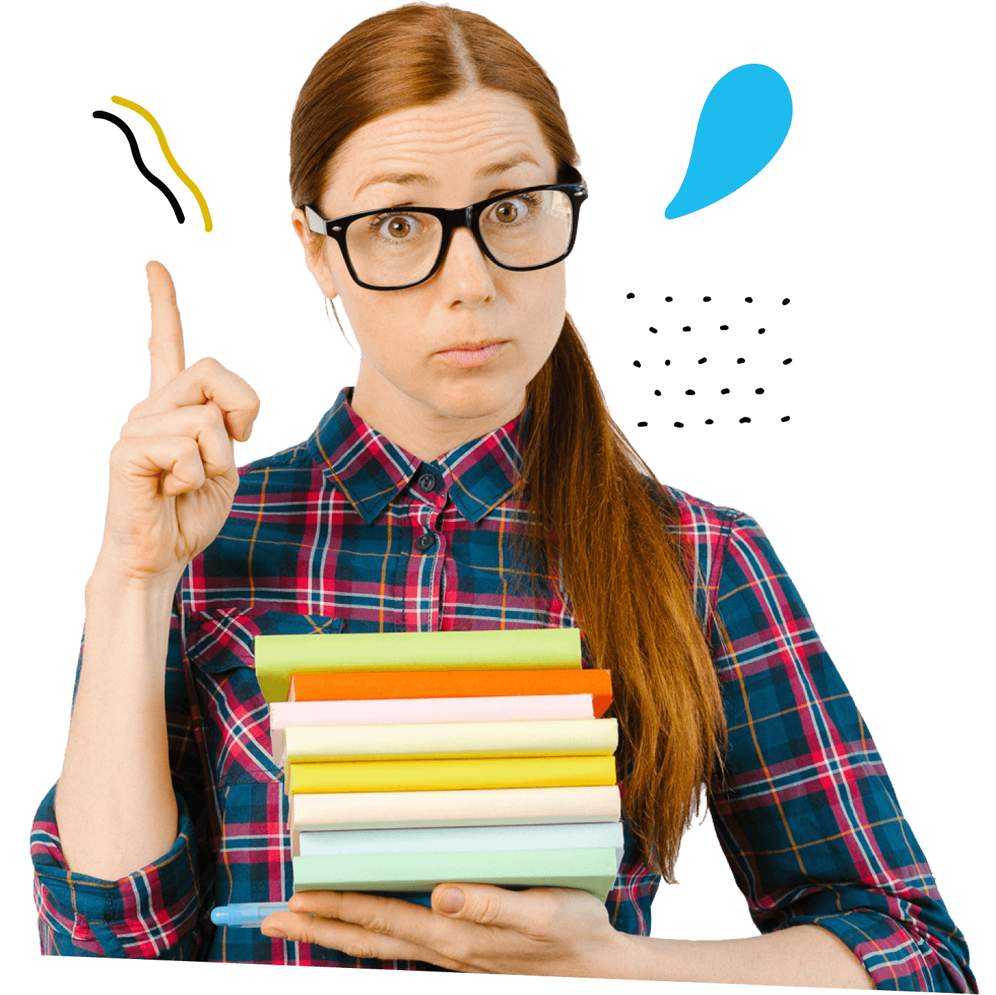 Shmoop's AP Prep tutor, AP Annie, a student with glasses holding a stack of books pointing up with one finger