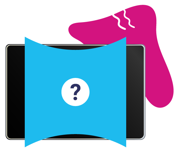 Icon of an ipad screen with pink and blue blobs and a questionmark