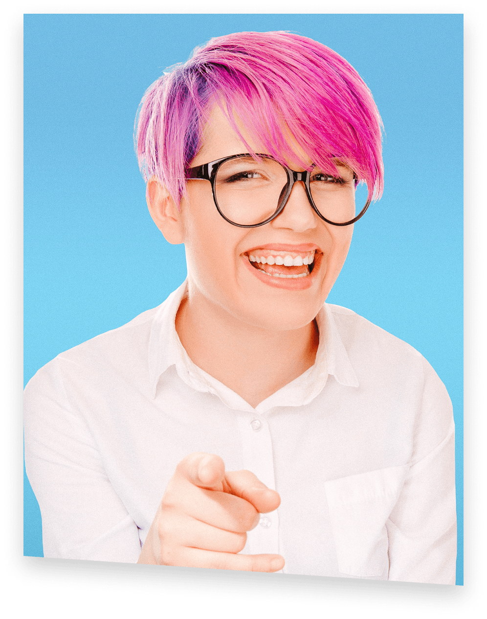 Shmoop student with magenta hair cheerfully pointing at you