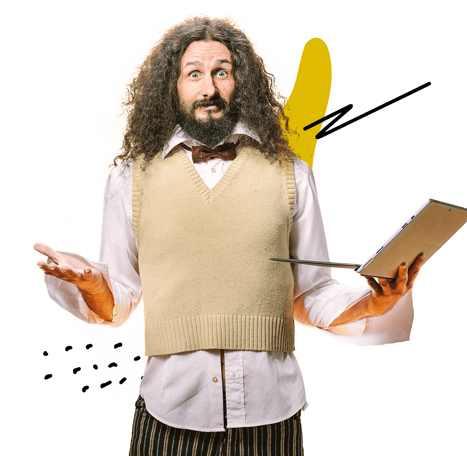 SAT Prep Teacher, Samson, a man with long curly hair wearing a swearter vest, holding a laptop in one hand