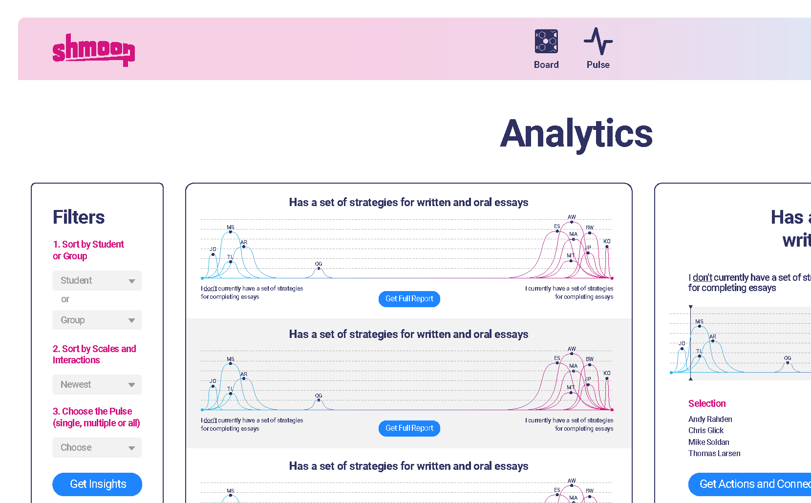 Screenshot of Heartbeat teacher view with Analytics page with graphs and buttons