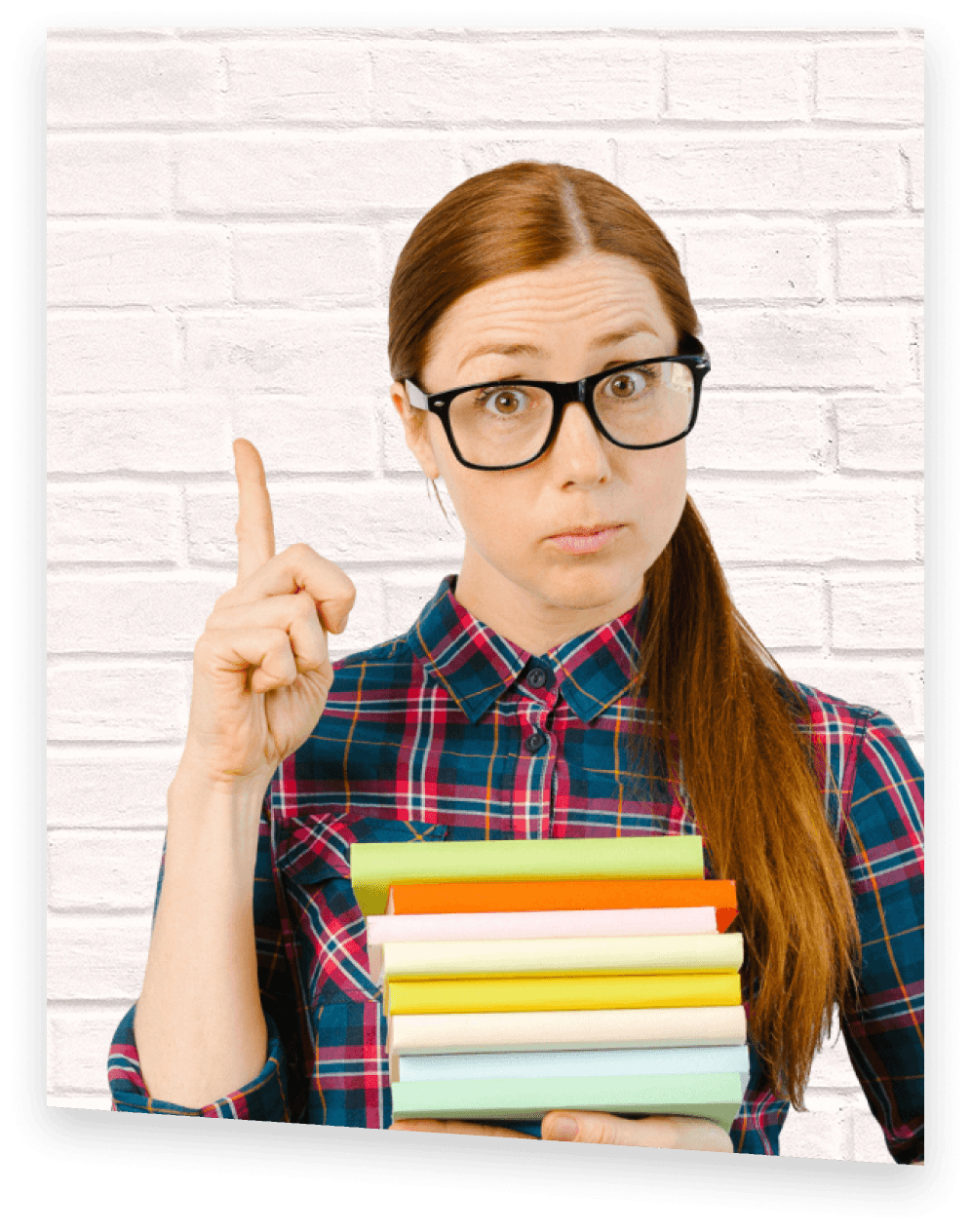 Shmoop's AP Exam Prep Tutor, AP Annie, a girl with red hair and glasses pointing up while holding stack of books