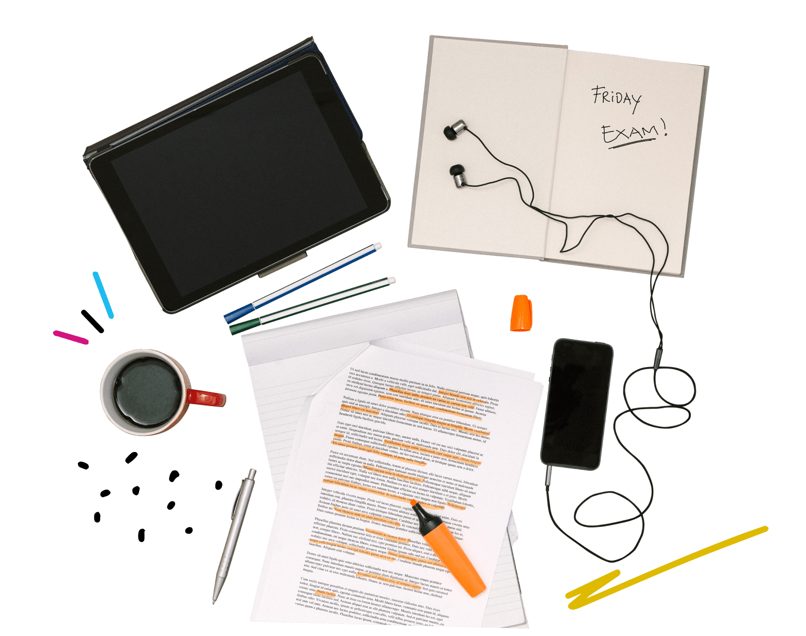 Shmoop test prep materials including a laptop, notebooks, pencils, and a cup of coffee, set out for a study session