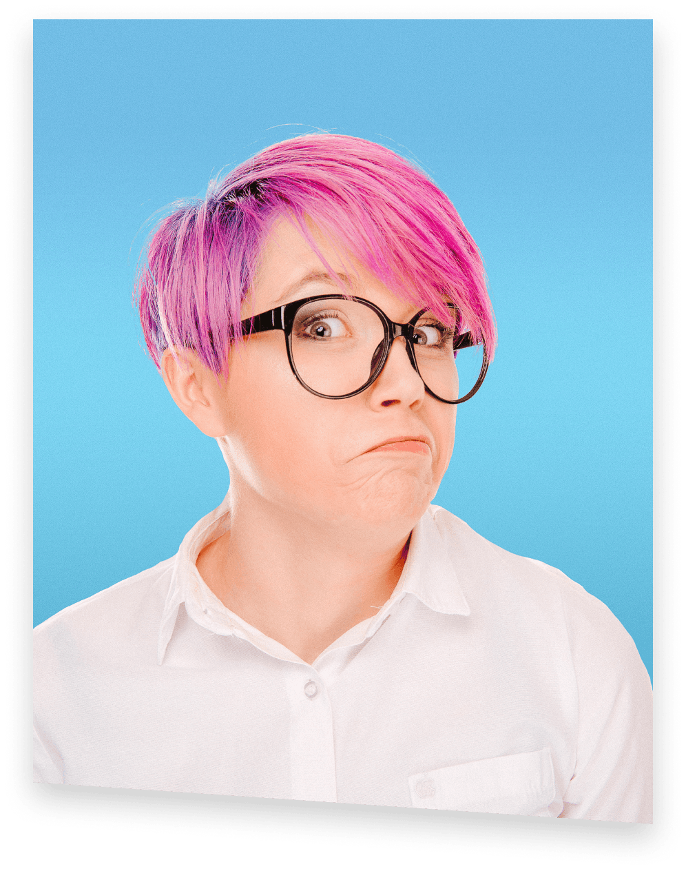 Shmoop test prep student, a curious girl with pink hair and glasses
